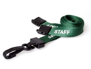 Green STAFF Lanyard with plastic clip