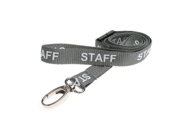 Grey STAFF Lanyard with metal clip