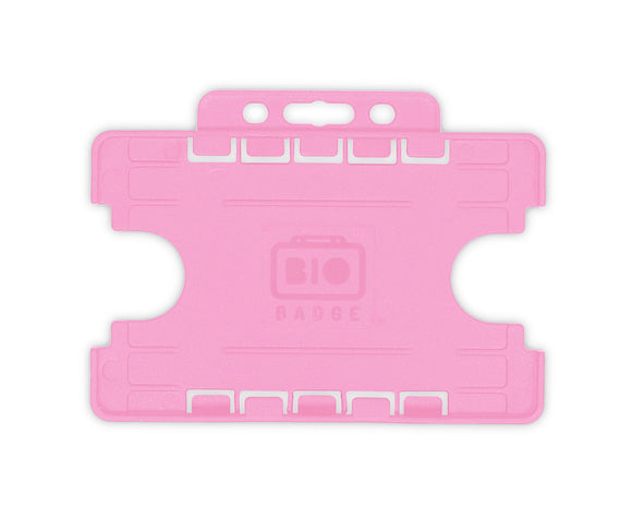 Pink Double ID Card Badge Holder