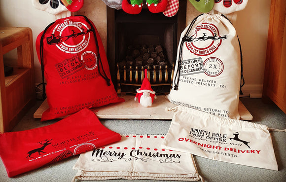 Personalised Santa Sacks to fill with presents this Christmas