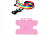 Rainbow Lanyard - Plastic Clip and Holder