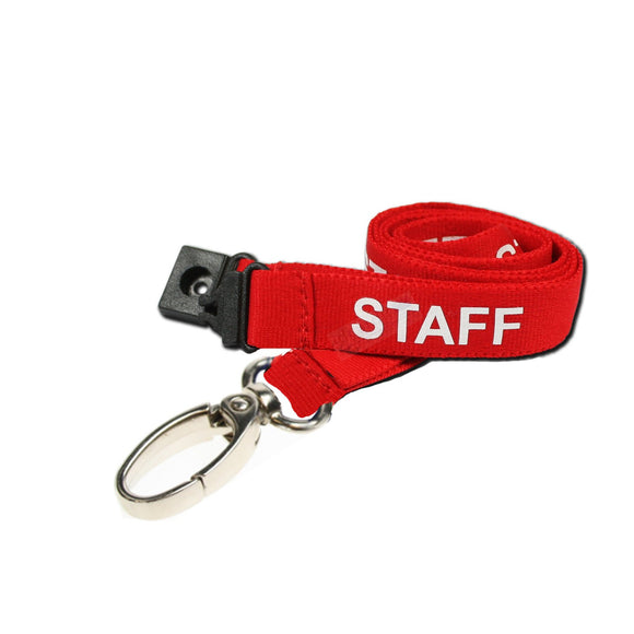 Red STAFF Lanyard with metal clip
