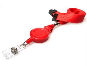 Red Lanyard with Integrated Badge Reel