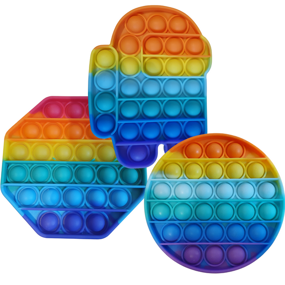 Rainbow Popit Pop Up Sensory Fidget Toy, in a variety of shapes, for Stress Relief, Anxiety, boredom buster