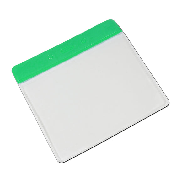 Horizontal Plastic Pocket Wallet PVC ID Card Holder - Green header