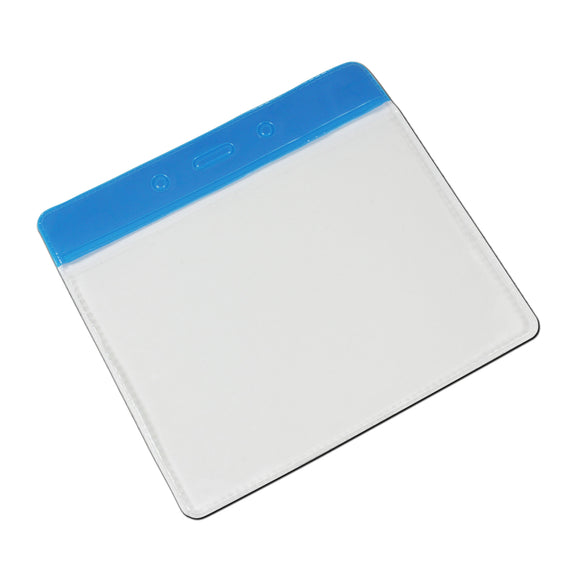 Horizontal Plastic Pocket Wallet PVC ID Card Holder - Blue header