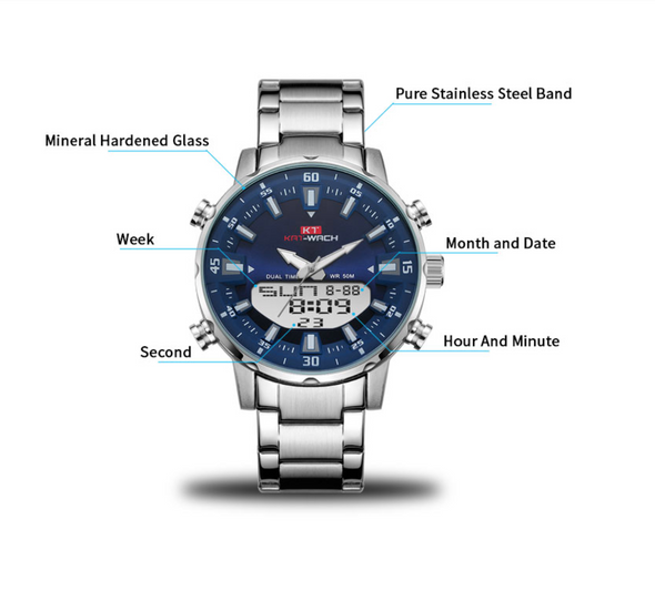 KAT - Dual Display Waterproof 3D Dial Analog Digital Quartz watch