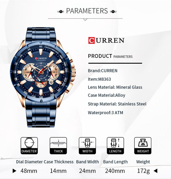 Curren - Stainless Steel Sports Chronograph Quartz Watch