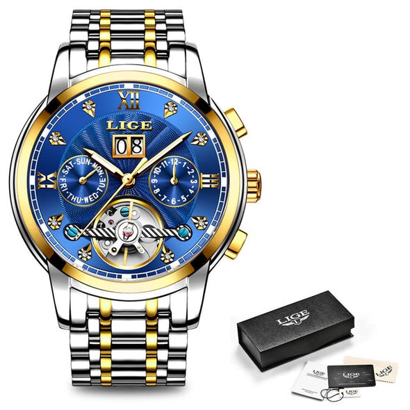 LIGE - Automatic Mechanical Tourbillon Watch