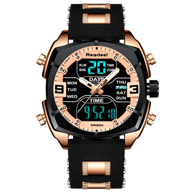 Readeel - LED Digital Display Multifunctional Chronograph Quartz Wristwatch