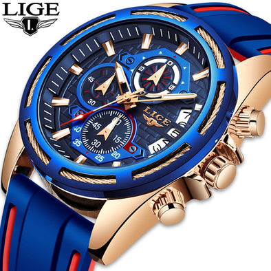 LIGE - Men's Luxury Military Sport Quartz Watch