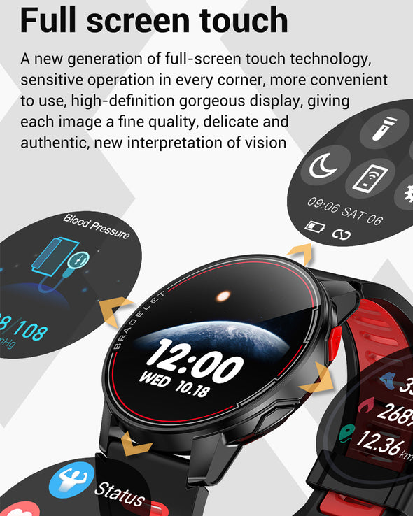 Jollynova - L6 Waterproof Fitness Tracker Heart Rate Monitor Smart Watch