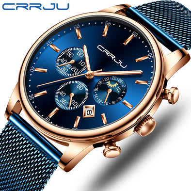 CRRJU - Fashion Stainless Steel Waterproof Quartz Watch