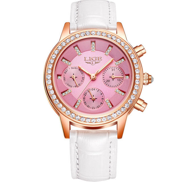 LIGE - Casual Leather Women's Dress Quartz Watch