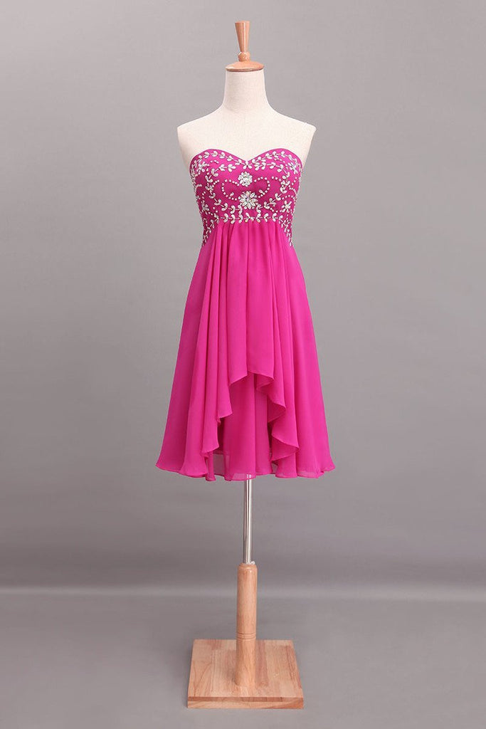 2019 Splendid A Line Short/Mini Homecoming Dresses Beaded Bodice With Layered Chiffon
