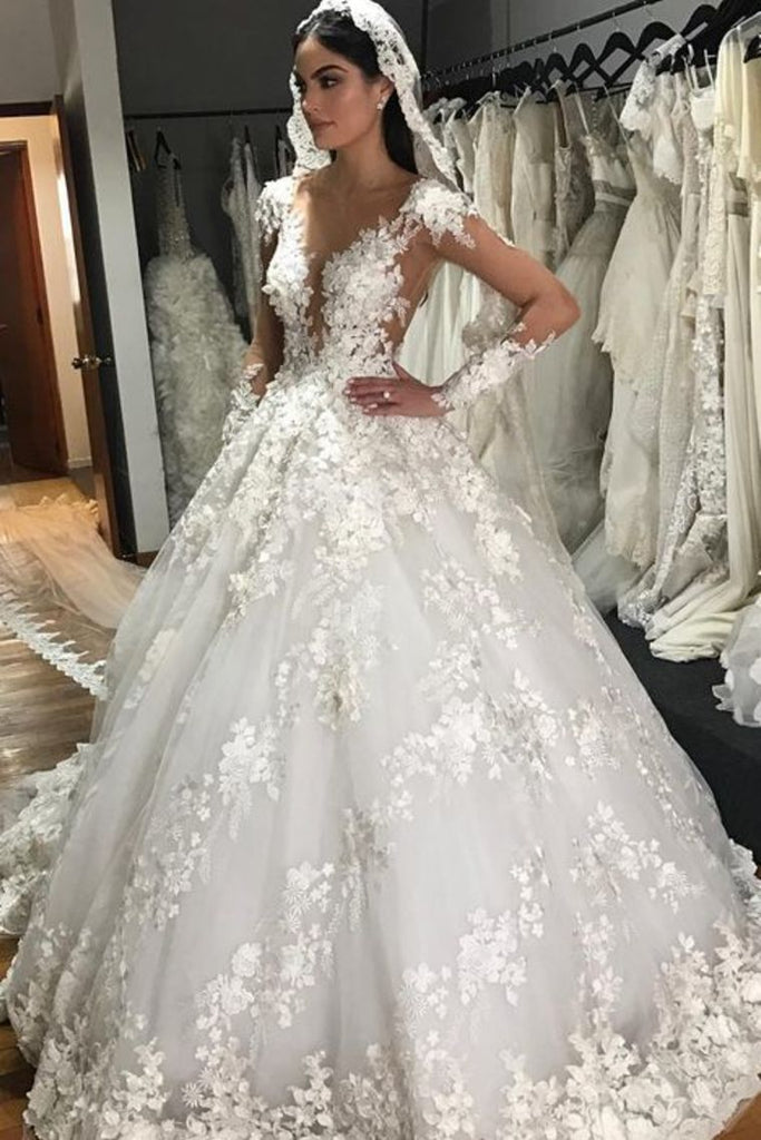 2019 A-Line Scoop Long Sleeves Tulle With Applique Gorgeous Wedding Dresses Chapel