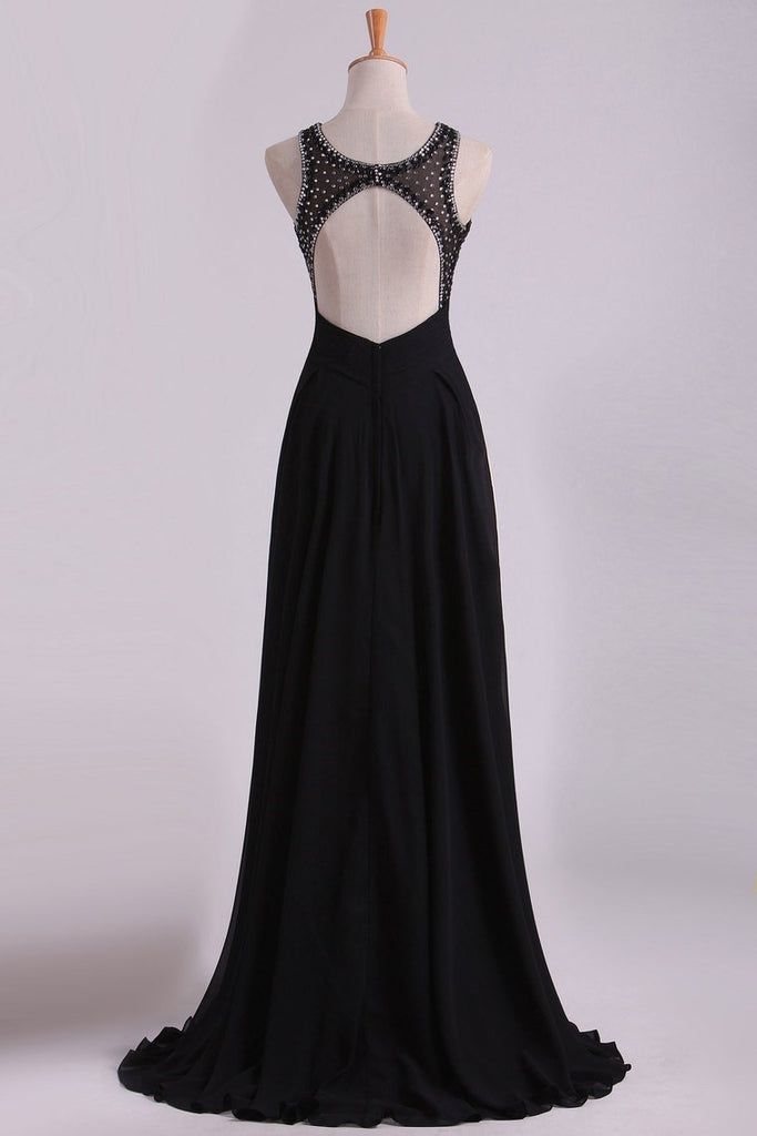2019 Black Open Back Prom Dresses Scoop A Line Chiffon With Beading