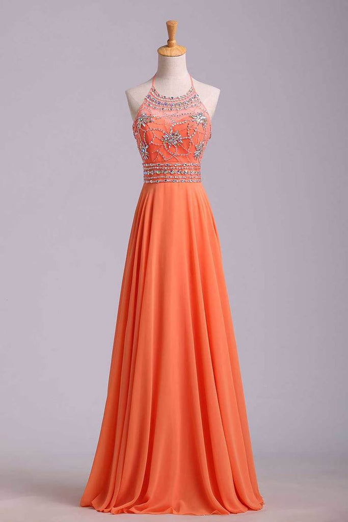 2019 Halter Prom Dress Beaded Bodice A Line Chiffon Long Chic Dresses