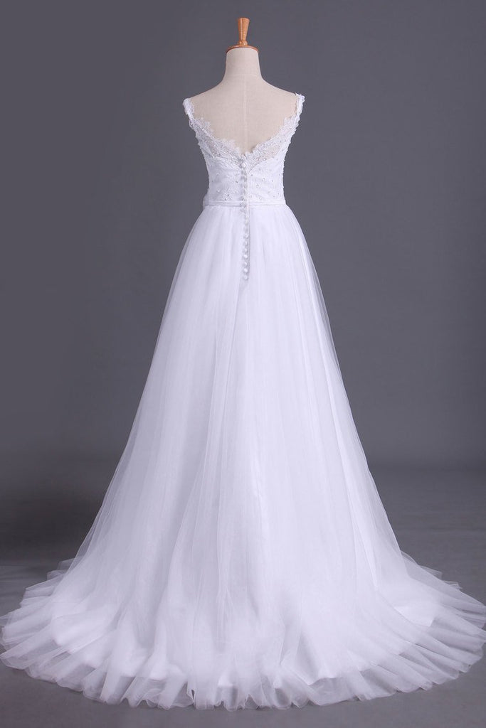 2019 Straps A Line Wedding Dress Court Train Tulle With Applique & Handmade