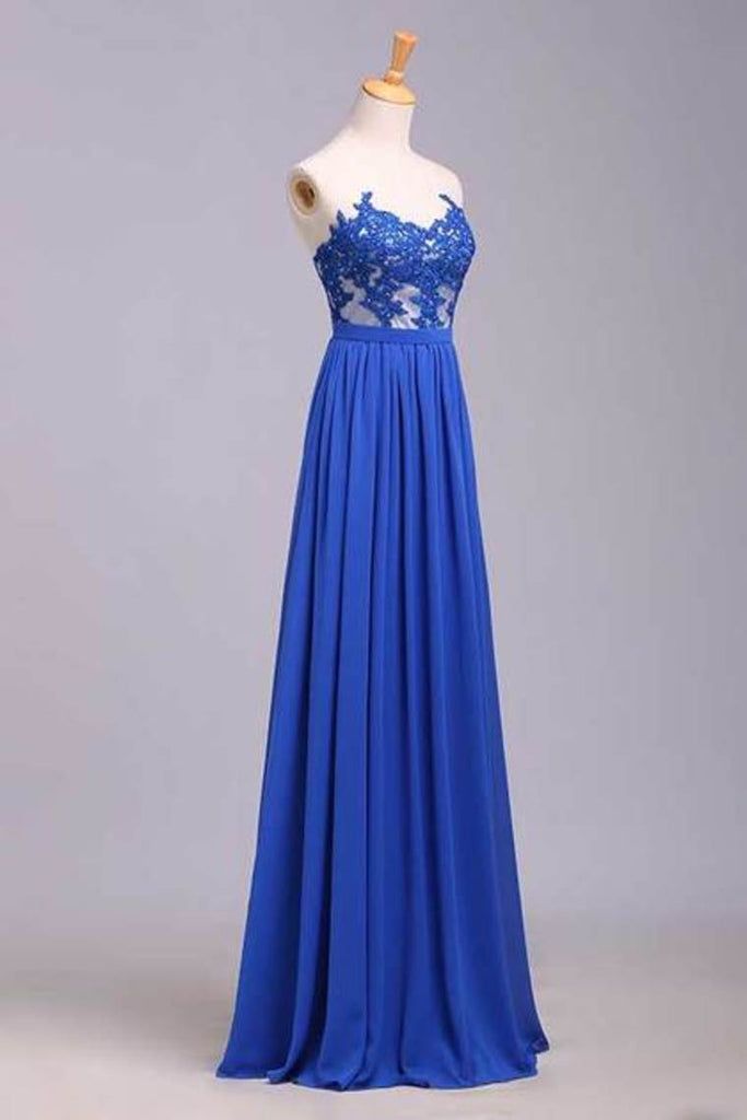 2019 Prom Dresses A Line Sweetheart Floor Length Chiffon Color Dark Royal Blue