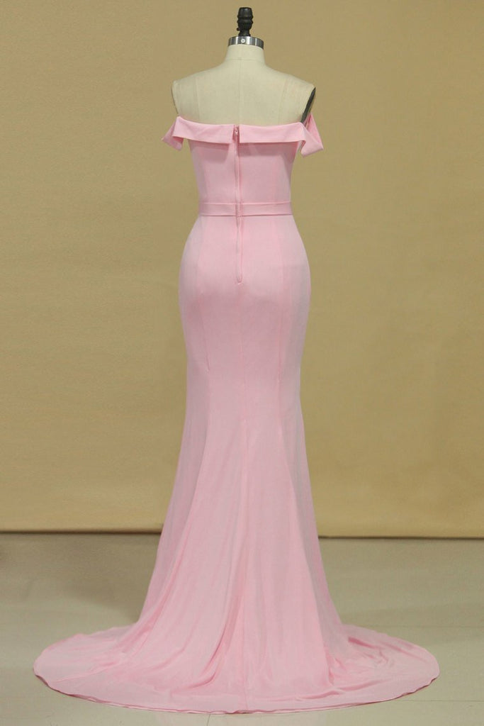 2019 Boat Neck Spandex Mermaid/Trumpet Zipper Up Evening Dresses Floor Length