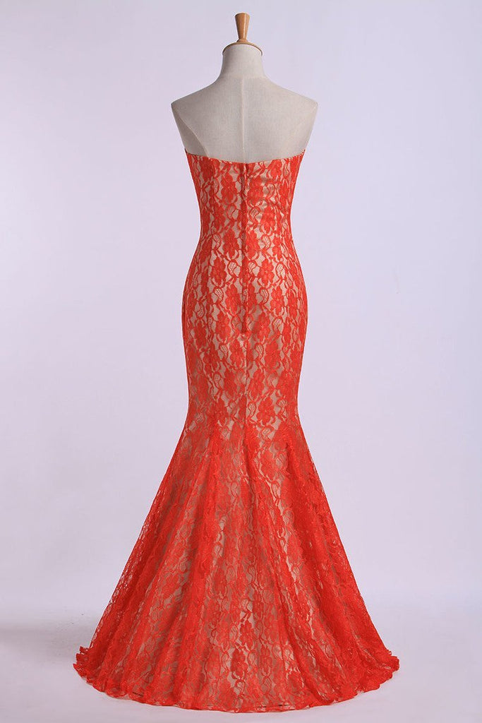 2019 Prom Dresses Sweetheart Mermaid Floor Length With Trumpet Lace