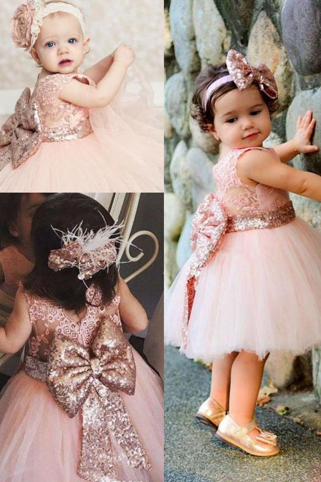 Cute Lace Pink V Back Flower Girl Dress with Bowknot, Round Neck Child Dresses SSA15574