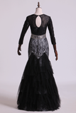 2019 Black Mermaid Evening Dresses Scoop Open Back Long Sleeves Tulle & Lace With Beading