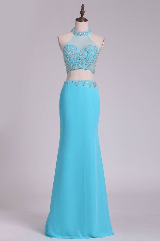 2019 Prom Dresses High Neck Chiffon Spandex With Beading Sheath