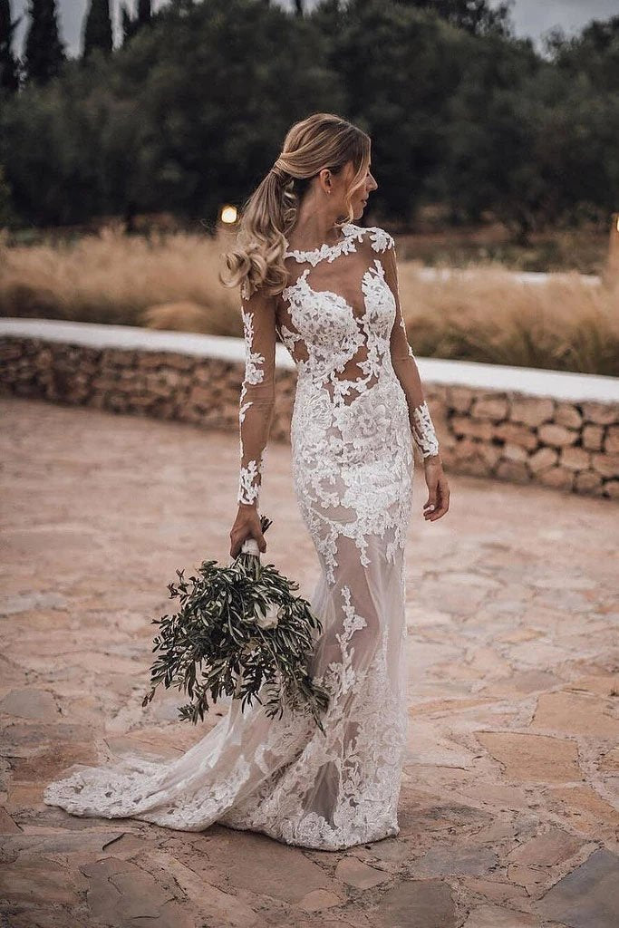 Mermaid Lace Appliques Long Sleeve See though Tulle Wedding Dresses, Beach Wedding Gowns SSA15261