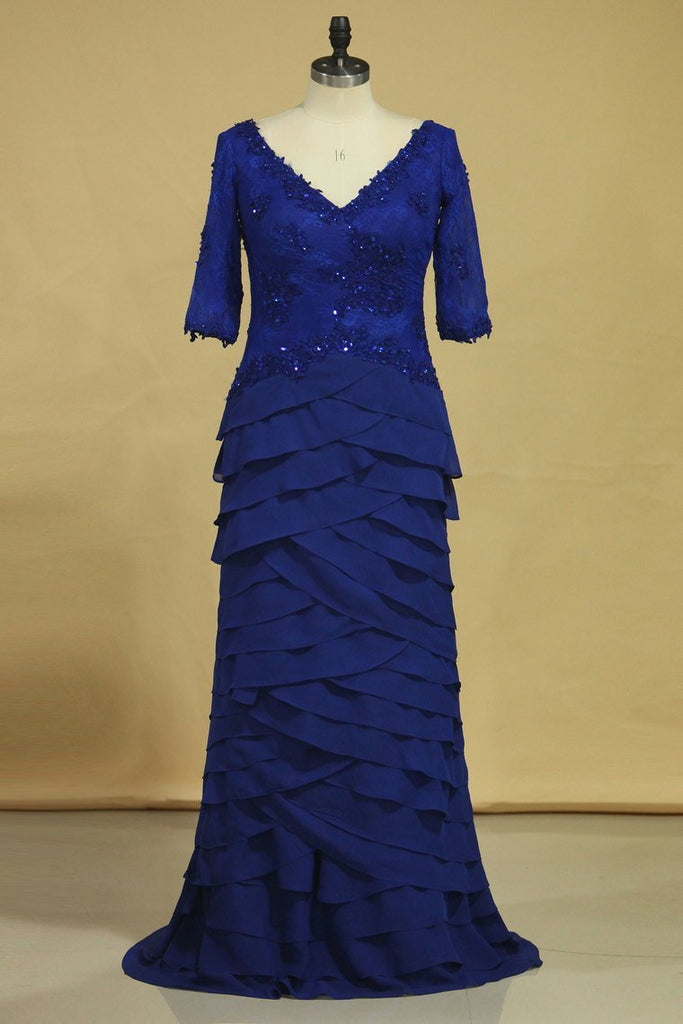 2019 Dark Royal Blue Mother Of The Bride Dresses Chiffon V Neck With 3/4 Length Sleeves