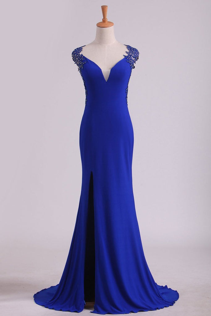 2019 Prom Dresses Sheath Straps Spandex With Applique Open