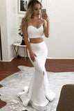 Ivory Mermaid Sweetheart Satin Two Pieces Slit Floor-length Draped Prom Dresses