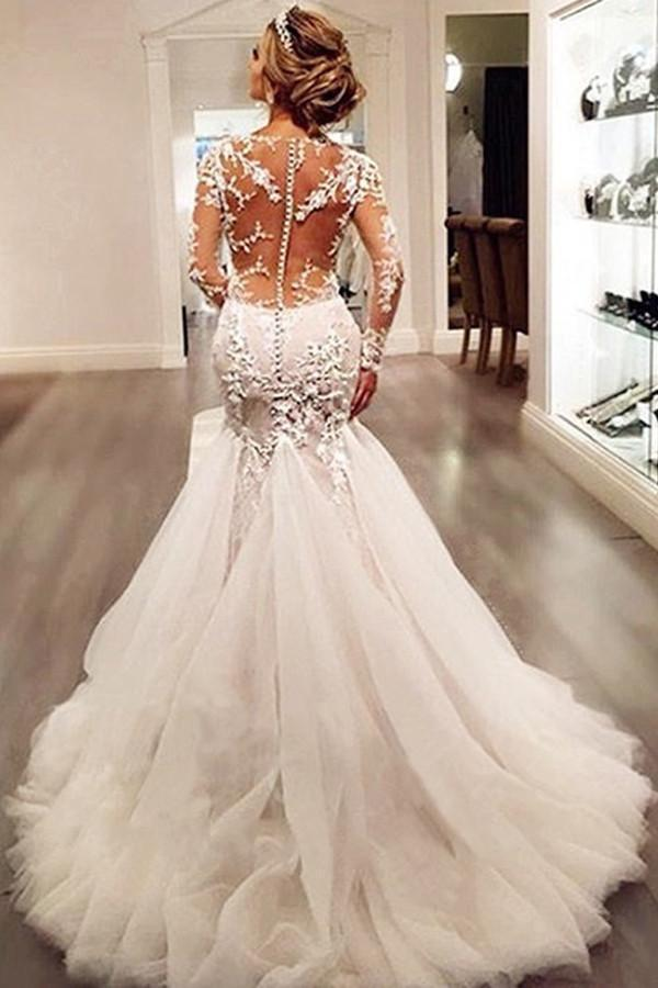 Long Sleeves Court Train Ivory V-Neck Mermaid Tulle Wedding Dress With Lace Appliques