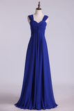 2019 Dark Royal Blue Prom Dresses A Line Straps Floor Length Chiffon Ruffled