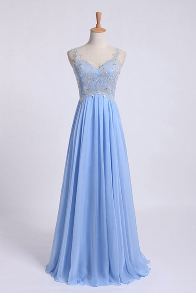 2019 Low Back Straps A Line Chiffon Prom Dress With Lace Bodice