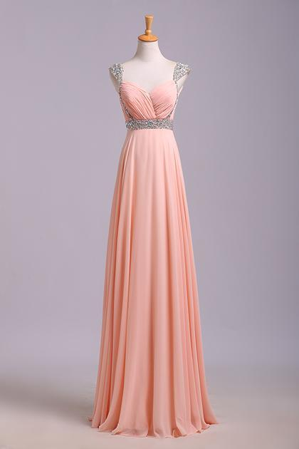 Simple Prom Dresses With Cap Sleeves A-Line V-Neck Floor-Length Chiffon Zipper