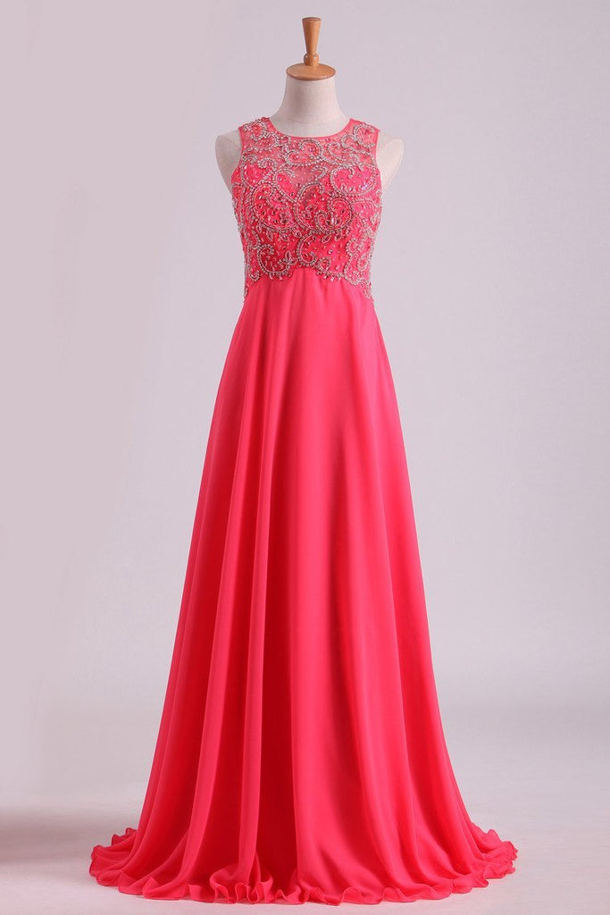 2019 Water Melon Prom Dresses Scoop A Line Beaded Bodice Open Back Chiffon & Tulle