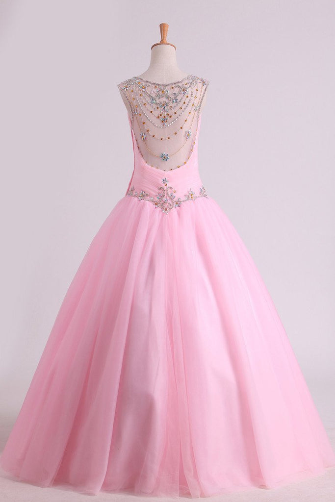 2019 Scoop Quinceanera Dresses Tulle With Beads And Ruffles Floor