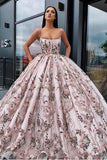 Princess Ball Gown Spaghetti Straps Beads Floral Print Prom Dresses Long Quinceanera Dress SSA15294