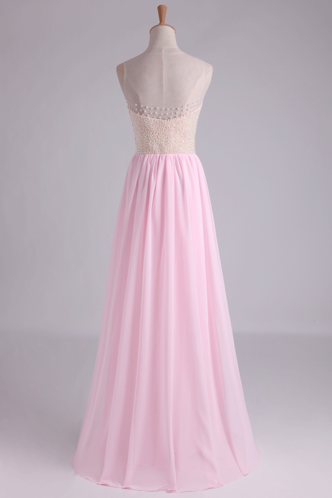 2019 High Neck Beaded Bodice A Line With Layered Flowing Chiffon Skirt Floor Length