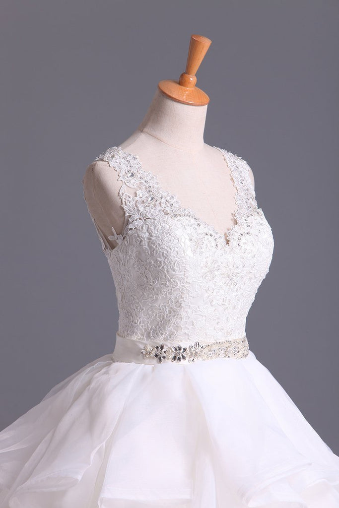 2019 Hot Wedding Dresses V-Neck A Line Organza With Beading And Sash