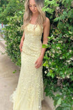 Charming Mermaid Yellow Spaghetti Straps Lace Appliques Prom Dresses with Criss Cross SSA15113