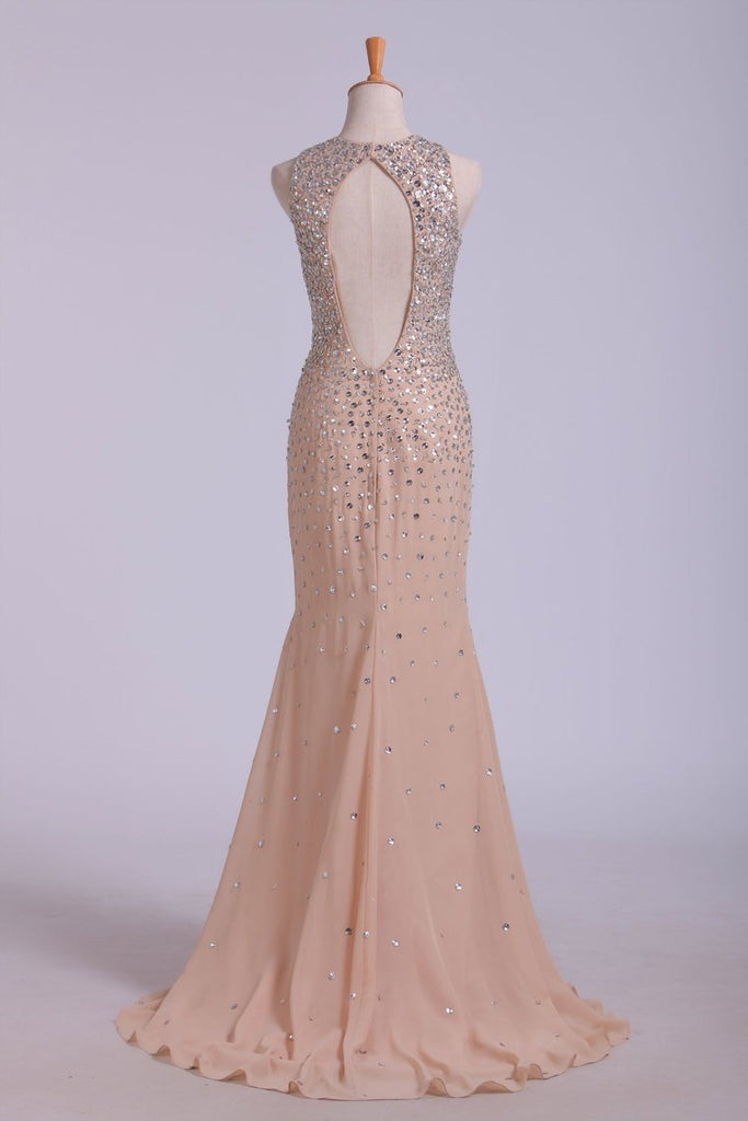 2019 Scoop Prom Dresses Sheath/Column With Beads Chiffon Sweep