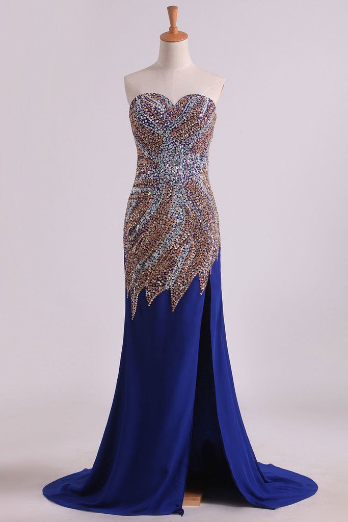 2019 New Arrival Chiffon Prom Dresses Sheath/Column With Beading Court Train