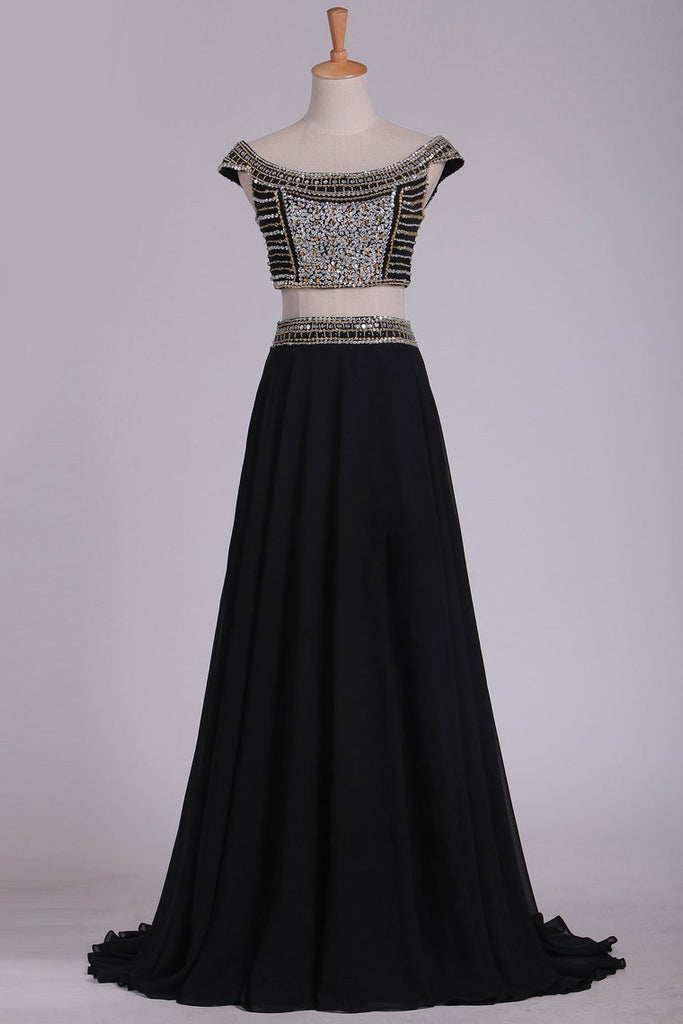 2019 Off The Shoulder Two-Piece A Line Prom Dresses Chiffon With Beading Floor Length
