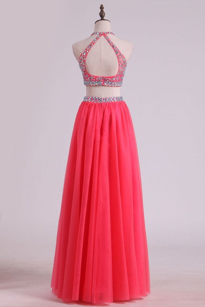 2019 Two Pieces Halter Prom Dresses A Line Tulle With Beading Floor