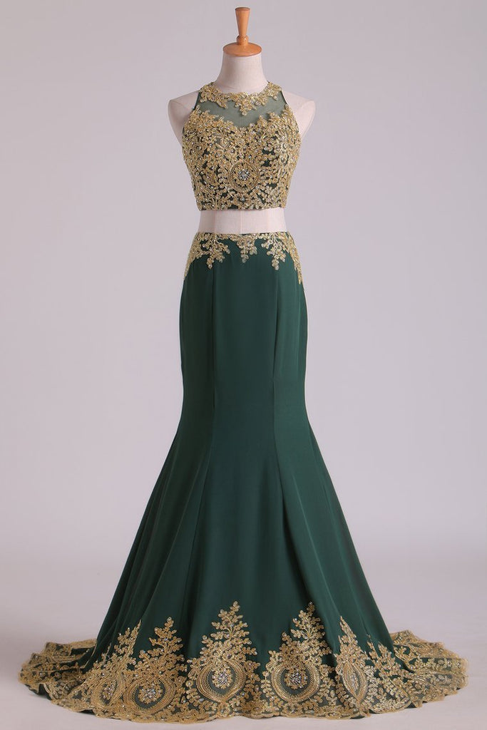 2019 Dark Green Mermaid Two-Piece Prom Dresses Scoop Sweep/Brush Chiffon With Gold Applique