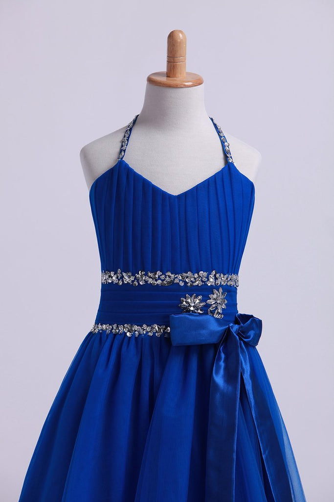 2019 Dark Royal Blue Halter A Line High Low Flower Girl Dresses Beaded Tulle