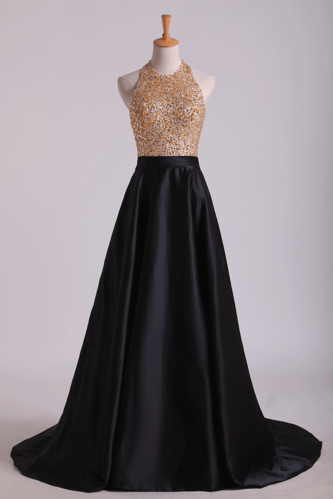 2019 Open Back Halter Prom Dresses Beaded Bodice Satin Sweep Train